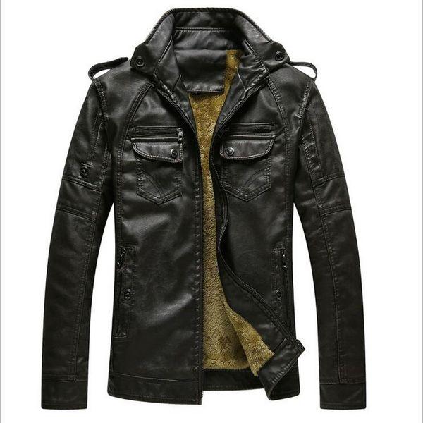 chaqueta de la motocicleta clásica, además de terciopelo capa lavada de cuero cosecha de invierno Tamaño caliente de la chaqueta de cuero de los hombres más la capa de terciopelo UE / Estados Unidos