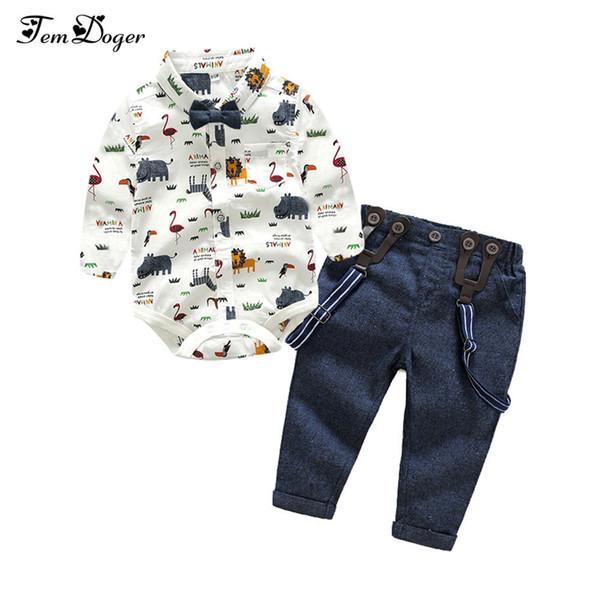Tem Doger Boy Giyim Yenidoğan Bebek Erkek Gentleman Giyim Bebek Uzun Kollu Gömlek + tulum 2 adet Bebes Kıyafetler Set Q190530