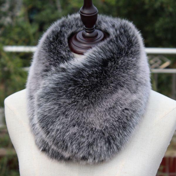 New short faux fox fur muffler winter warm multicolors super soft blue pink black short faux fur collar rabbit fur scarf D19011004