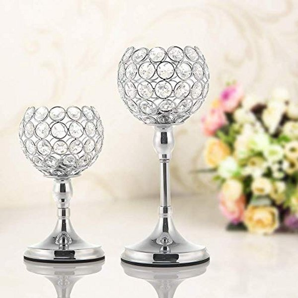 Crystal Tealight Candle Bowl Holders for Wedding Party Holiday Home Decoration Dining Table Centerpieces Birthday Mother's Day Gift