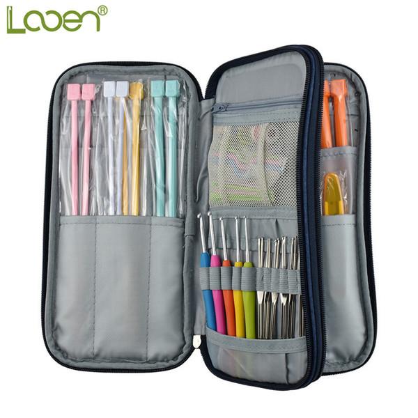 Looen Dark Blue Empty Hook Storage Pouch Knitting Kit Case Organizer Bag For Sewing Crochet Needles Scissors Ruler Q190531