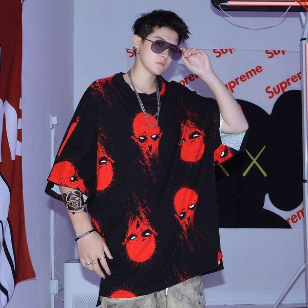 2019 Human Skelet Camiseta Hip Hop Overszie Hombres Camiseta Streetwear Verano Algodón Tops Camisetas HipHop Moda Camiseta Manga Corta Nuevo