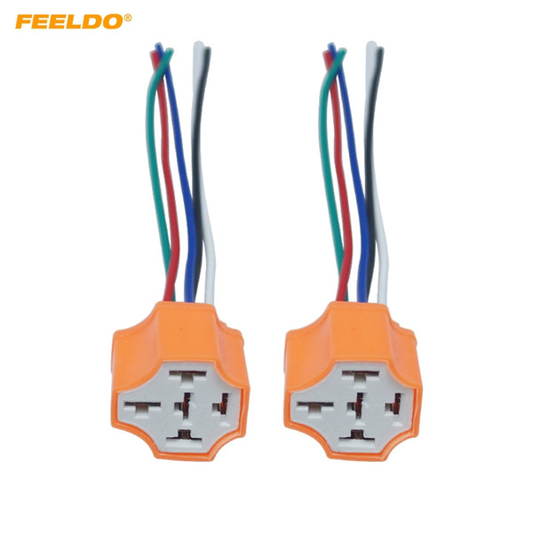 FEELDO 2PCS Car 5Pin Headlight Ceramic Socket Extension Plug LED HID Light Adapter With Wiring Harness Connector #5943