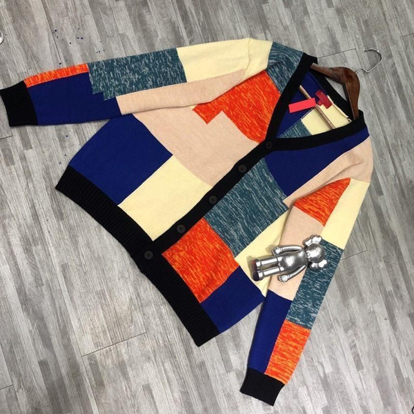 19ss Box Logo Patchwork Mohair Cardigan Color Matching Splice Sweater Jacket Knitted Warm Sweatshirt Fashion Trend Casual Sweaters Hfymmy033