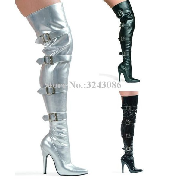 New Pointed Toe Buckles Over the Knee Women Boots Sexy Thin Heels Leather Thin Leg Long Boots Fashion Party Shoes Lady