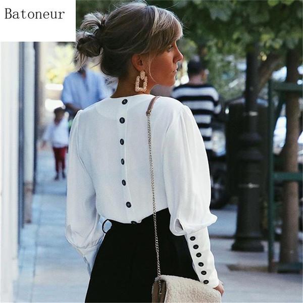 2019 Frauen beiläufige Oberseiten V-Ansatz lange Hülsen-elegante rückseitige Knopf-Blusen-Frühlings-Sommer-Art- und Weisefestes Hemd