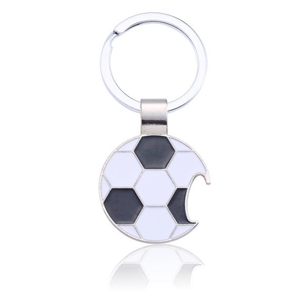 Black White Soccer Key Ring Trendy Football Key Chain Creative Beer Bottle Opener Keychain Enamel Unisex Sport Jewelry Chaveiro