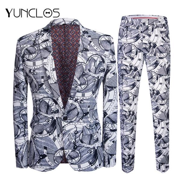 YUNCLOS 2019 nuevos hombres trajes impresos Slim Fit trajes de fiesta 2 piezas de la chaqueta del pantalón de baile un botón de un solo pecho hombres