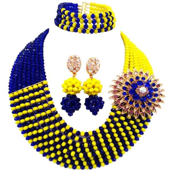 Fashionable Royal Blue Opaque Yellow African Beads Jewelry Set Nigerian Wedding Necklace Bridal Jewelry Sets 8JBK10