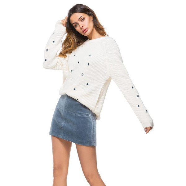 Wipalo Raglan Sleeves Knitting Sweater Women Pullovers Knitted Long Sleeves Sweater Embroidery Stars O-Neck Tops Pull Femme Pop