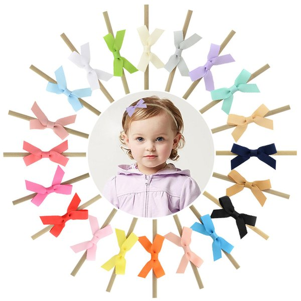 Baby Ribbon Bow Hair Accessories 2019 Newborn Girls Hair Bows with Elastic Nylon Hairbands Pretty Infant Trendy Headbands 20color B11