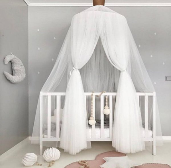 INS Baby lace crib netting nordic style dome mosquito net curtain for bedding kids Bows room decor newborn photography props F7595