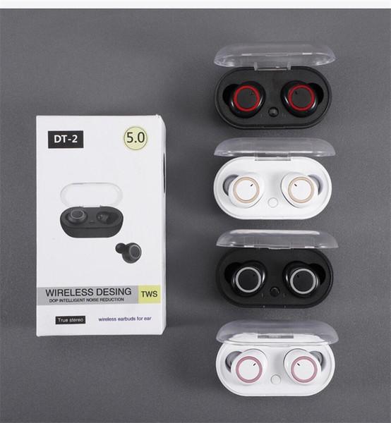 DT-2 TWS 5.0 Auricular Bluetooth Auricular inalámbrico estéreo 3D con doble micrófono BT 5.0 En el auricular Manos libres Sport Buds para IOS Android