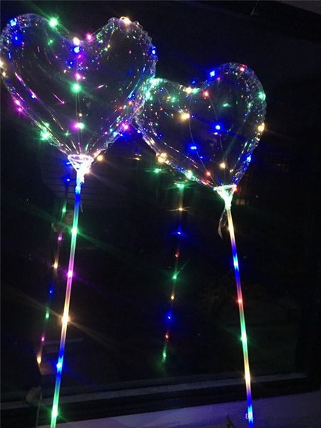 Love Heart LED Luminous Balloon BoBO Ball Flashing Light Transparent Hear Shape Balloons With 80cm Pole for Valentine's Day Wedding Party