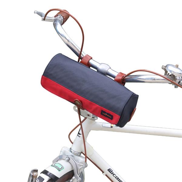 Tourbon Retro Impermeabile Ciclismo Manubrio Borsa anteriore Pouch Basket Shoulder Crossbody Borse Accessori per biciclette Blue Canvas # 233301