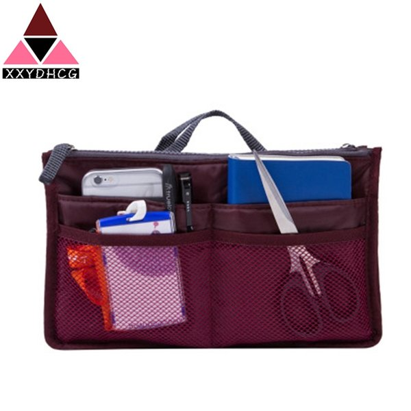 Organizer Insert Bag Women Nylon Travel Insert Organizer Handbag Purse Large liner Lady Makeup Cosmetic Bags Cheap Female Tote #42793