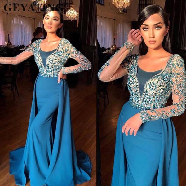 Modelo De Vestidos Azul Turquesa Mangas Compridas Vestidos De Noite Dubai Saia Destacável De Cristal Frisada Sereia Cetim árabe Vestido De Baile
