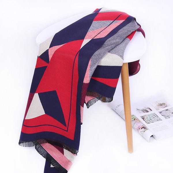 2019 bufanda del invierno de la cachemira de las mujeres pañuelos de diseño de punto Chales cálidos y Manta cuadrado grande Wraps Señora Chales