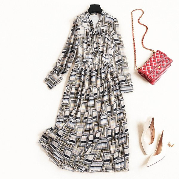 2019 Spring Luxury Long Sleeve V Neck Geometric Print Chiffon Ribbon Tie-Bow Mid-Calf Dress Fashion Casual Dresses J0710055