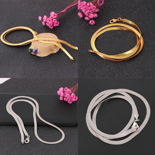 16-24 inches Gold Silver Plated Snake Skeleton Chain Copper Collarbone Necklace Neck Decor Accessories
