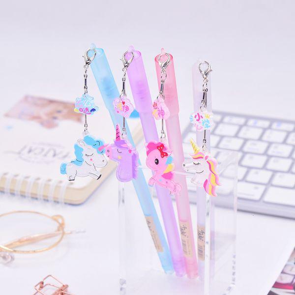 36 pz Kawaii Penne di gel Migliaia di ciliegia unicorni neri penne a inchiostro gel penne per scrivere Carino rifornimenti scuola ufficio