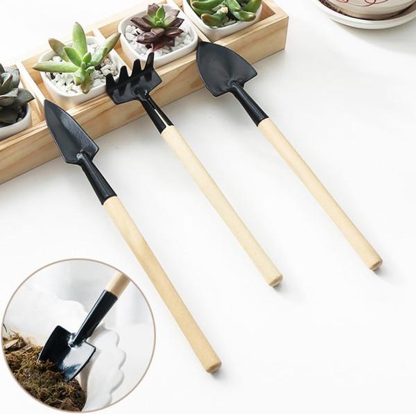 3 Teile / satz Kinder Mini Kompakte Anlage Garten Hand Holz Werkzeug Kit Spatenschaufel Rechen Für Gärtner topf kultur werkzeug