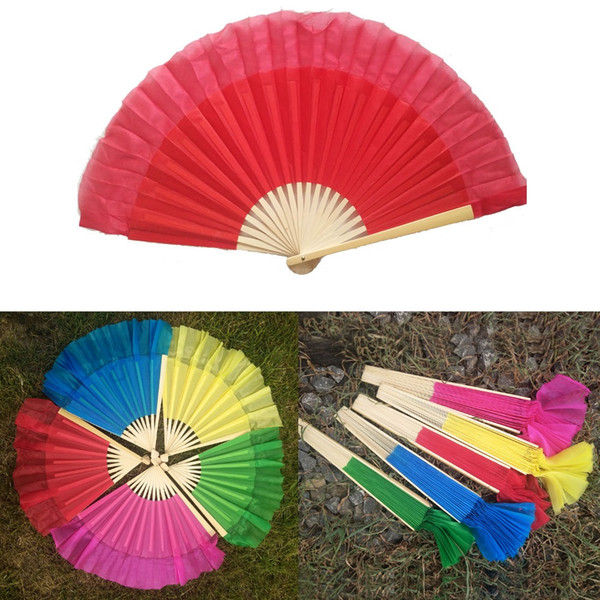Hot sell! Children's Bamboo frame Chinese belly dance fan 100% silk veils assorted 5 colors available
