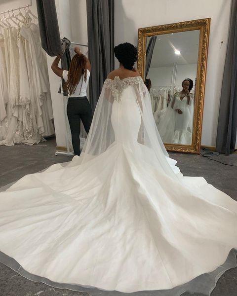 Щедрый милая Русалка свадебные платья с бисером тюль обертывания длинные развертки свадебные Африканский труба свадебные платья