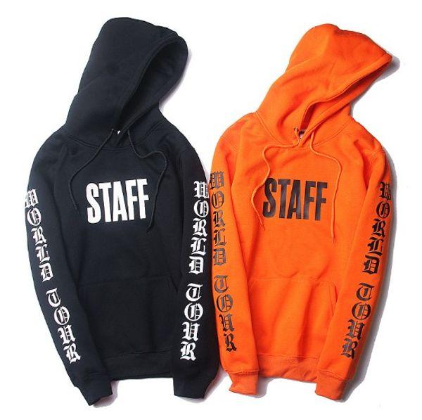 Sudaderas con capucha para hombre Hip Hop High Street Style Bieber Oversize Loose Orange and Black Plus Velvet Sweater con capucha Streetwear