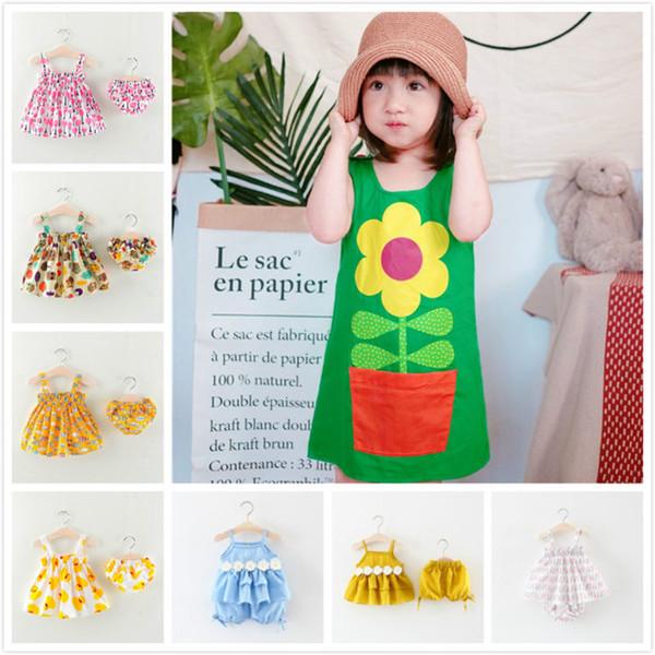 Ganze kleine Mädchen 21 Styles Designer Kleidung Baumwolle ärmelloses Kleid Shorts Hosen Röcke Kinder Boutiquen Kleidung Sommer Mädchen Outfits
