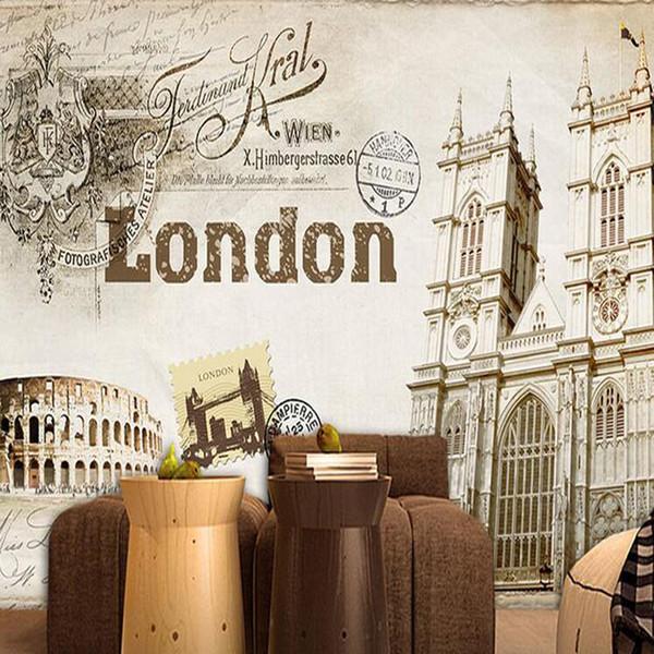 Großhandel Retro Paris London Kirche Kulisse Wohnzimmer Schlafzimmer  Tapeten British Wind Cafe KTV Bar Tapete Wandbild Von Yi20, $35.18 Auf ...