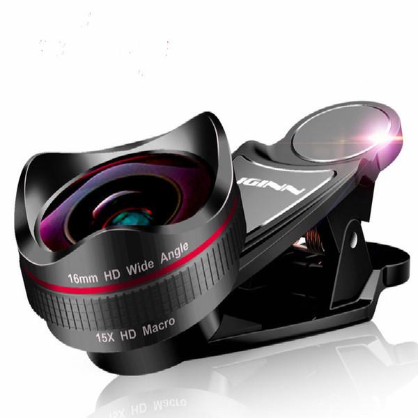 Obiettivo del telefono 16mm Super Wide Angle Microrange 2in1 HD Camera Lentes Macro fotografia esterna per iPhone Xiaomi Mobile Cellphone