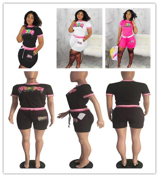 Women BADEFGI Letters Patchwork Tracksuit 2019 Fashion Paillette Romper Two Pieces Set Summer Short T-shirt+shorts Sportswear Clothing C5801
