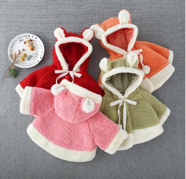 Capa de la capa del poncho de los niños felpa Outwear bebés ropa de niña suelta capote encapuchado del bebé del otoño de lana de cordero 4 Diseños 1-4T LY13