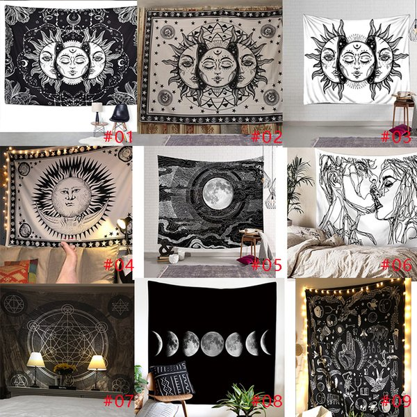 150 * 130 cm Schwarz-Weiß-Idol hängende Tapisserie Hängende Wand Dekorative Tapisserie Hängende Wand Tagesdecke Ethnic Throw Towel Beach Meditation