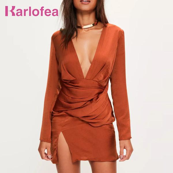 Karlofea New Spring Sexy Mini Orange Partywear con scollo a V Moda donna Split Front Silky maniche lunghe con pannelli Dress Q190516