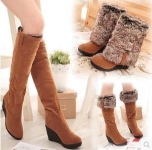 2018 nueva moda con botas de piel de invierno zapatos de tacón alto de la rodilla alta mujer cálidos cuñas de la manera botas para la nieve zapatos de las mujeres