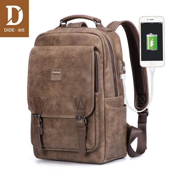Dide Usb Charging Port Laptop Backpack Men Mochila Vintage Casual Travel Backpack Bag Male Preppy Schoolbag Waterproof 15 Inch Y19061102