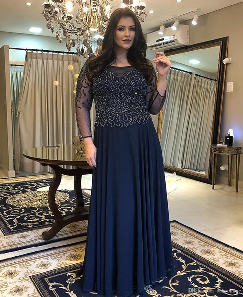 Vintage Dark Navy Long Sleeves Mother Of The Bride Dresses Elegant Sheer Appliques Sequins Wedding Party Gowns For Women Plus Size