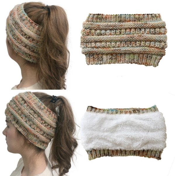 Knitted Headband Fuzzy Lined Ear Warmer Designer Wide Headwrap Colorful Woolen Ponytail Hats Trendy Beanie Caps 8 Designs Optional HL21