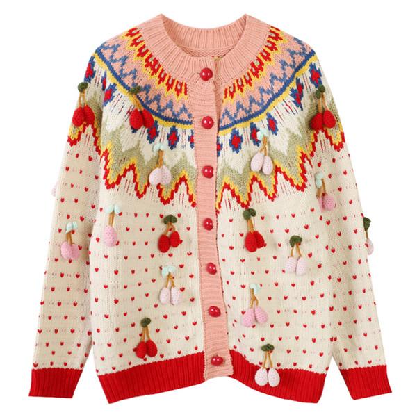 2020 Nova de mangas compridas Fragrance camisola de malha Cardigans pequeno Brasão de vento de morango Jacquard Bordados solto Camisolas Mulher Tamanho S-L