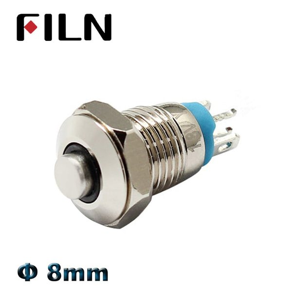 8mm mini interruptor de botão de pressão em off momentâneo alto interruptor de cabeça 3 v 12 v led iluminado botão 1 não