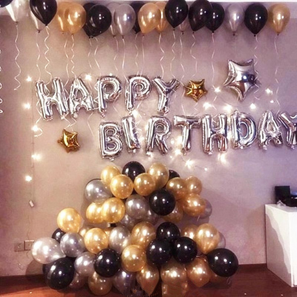 Silver Happy Birthday Letter Globos With Pearl Gold Black White Balloons Adult Gifts For Theme Party Decorations Supplies J190706 Balloons Decorations