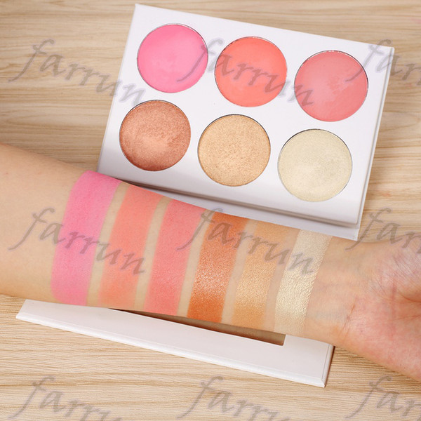 private label 3 color highlight powder+ 3 color blush powder palette shimmer matt no logo pan 175g 16.5*11.5cm with mirror