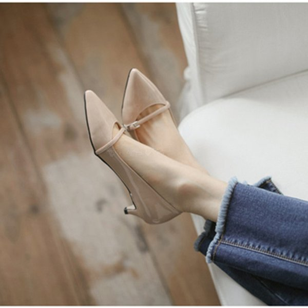 112019 Sharp Low With Women's Shoes Patent Leather Bare Mouth High-heeled Shoes Small Code 31 32 33 With Women's Singles Shoe
