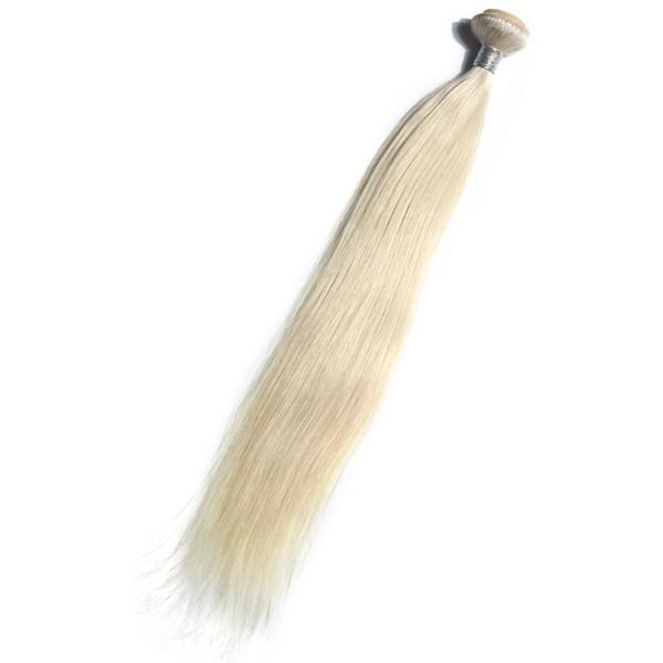 Weißes Gold Farbe Brasilianisches Jungfrau-gerades Haar, das 100% Menschenhaar-Webart bündelt, 10-30 Zoll doppelte Einschlaghaarverlängerungen