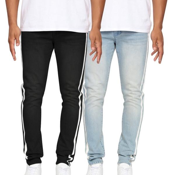 VERTVIE 2019 Listrado Sólidos Calça Jeans Homens Zíper Longo jeans Homme Masculino Casual Magro Lápis Calças Dos Homens Em Linha Reta Jean Hombre