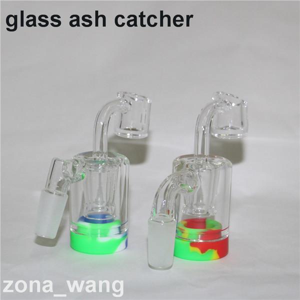 Glass Ash Catcher Bowls With Male 14mm 18mm Joint Bubbler Glass Perc Ashcatcher with 4mm quartz banger bong ash catcher Silicone WAX Contain