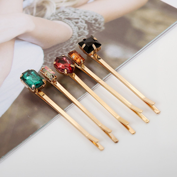 best selling Set of 5 European and American Jewelry Imitation Diamonds Hairpin Side Clip Side Clip for DIY Hair Accessories
