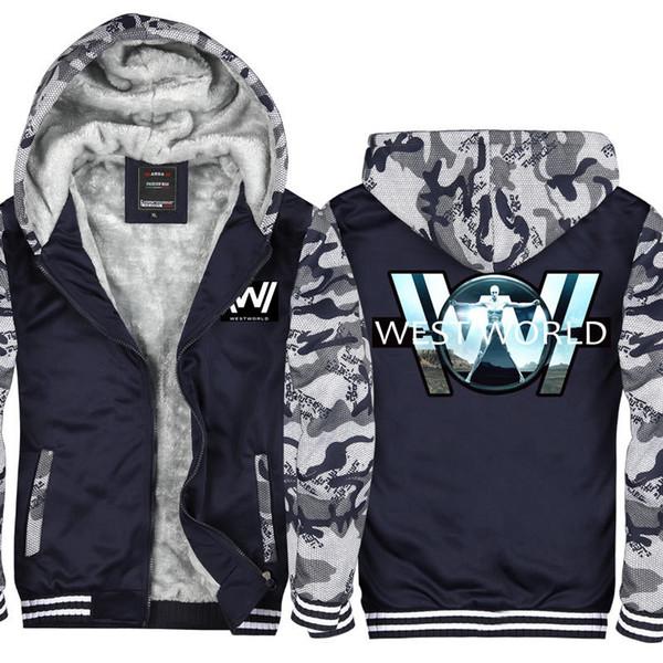 Kamuflaj Westworld Sezon Erkekler ve Kadınlar Kadife Kalınlaşmak Kapşonlu Tişörtü Fermuar Hoodies Kış Hırka Ceket Kaban Kazak ABD, AB Boyutu